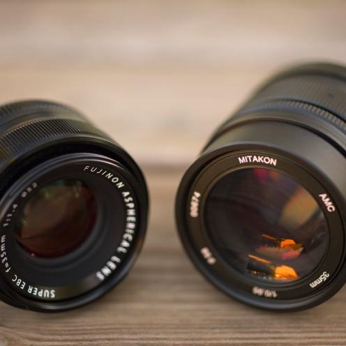 Front view comparing the Fuji and Mitakon 35mm.